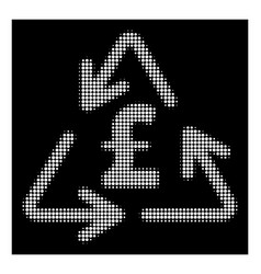White halftone recycling pound cost icon vector