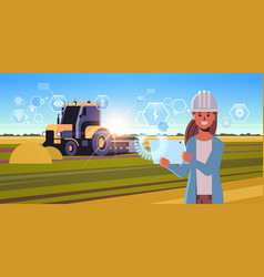 woman farmer with tablet controling tractor vector image