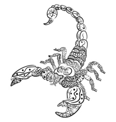 Zentangle scorpion Black and white zentangle art vector