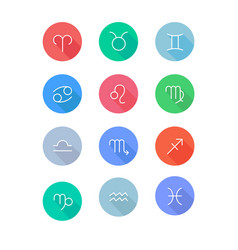 zodiac signs flat icons set vector image