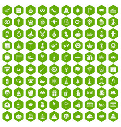 100 holidays icons hexagon green vector image vector image