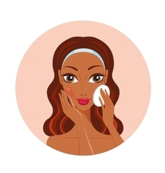 African American woman removing make up look happy vector image vector image