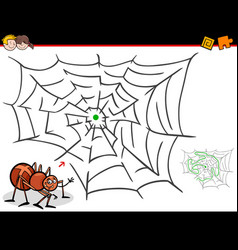cartoon maze activity with spider and web vector image vector image
