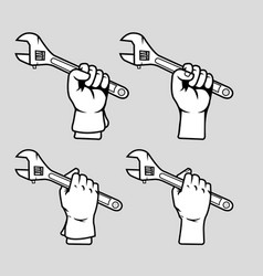 hand grab adjustable wrench black white vector image
