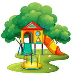 playground with slide and roundabout vector image