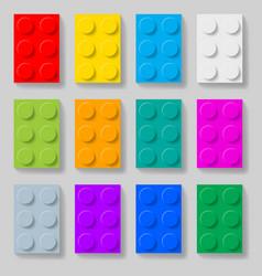 set of colorful plastic construction kit blocks vector image