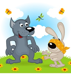 wolf and hare playing hide and seek vector image