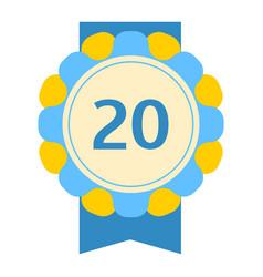 birthday twentieth badge banner design flat vector image vector image