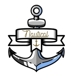 Color vintage nautical emblem vector image