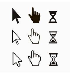 Pixel cursors icons mouse hand arrow hourglass vector image