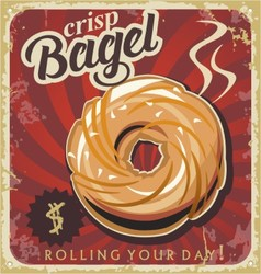 Retro pastry sign bakery bagel vector image vector image