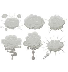 smoke cloud set explosion dust puff cartoon frame vector image