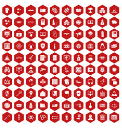 100 hacking icons hexagon red vector image