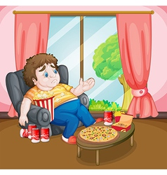 A fat boy with lots of foods vector image vector image