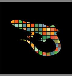 lizard reptile color silhouette animal vector image
