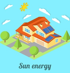Low-energy house with solar panels For web design vector image
