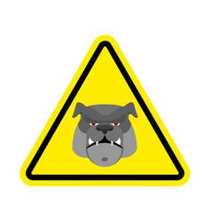 angry dog warning sign yellow bulldog hazard vector image