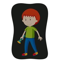 Boy carrying flashlight in the dark vector image