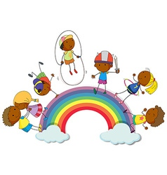 Boys and girls on the rainbow vector image vector image