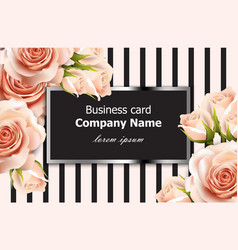 business card delicate roses floral vector image vector image