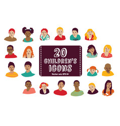 children icons group set vector image vector image