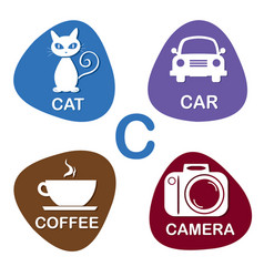 cute alphabet in c letter for cat car vector image