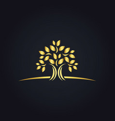 plant gold tree ecology logo vector image vector image