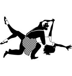 Swing dancing silhouette vector image vector image