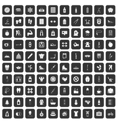 100 fit body icons set black vector