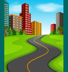 a road to the city vector image
