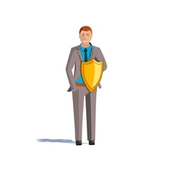 A young man with a shield Protection insurance vector image