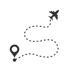 airplane flight route icon in flat style travel vector image