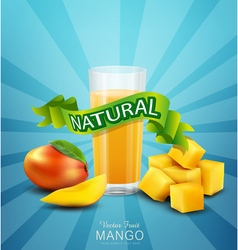background with mango and glass of mango juice vector image
