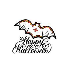 bat with happy halloween vector image