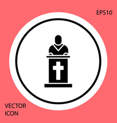 Black church pastor preaching icon isolated on red vector