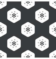 Black hexagon snowflakes pattern vector image