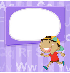 Border template with kid on purple background vector