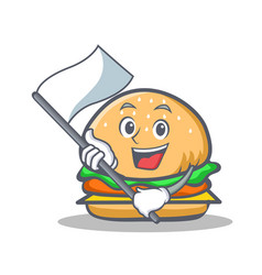 Burger character fast food with flag vector