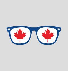 canadian red maple leaf sign on blue glasses frame vector image