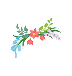 cartoon flowers on white background vector image
