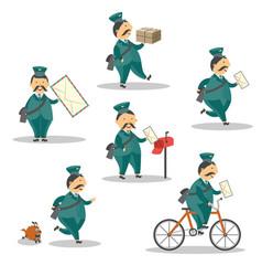 cartoon postman mailman character set vector image