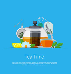 cartoon tea kettle and cup in paper pocket vector image