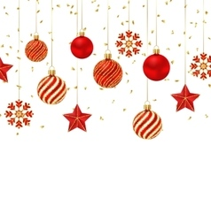 Christmas Background with Ornamental Balls Stars vector image