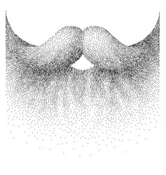 closeup beard and mustache in the etching style vector image