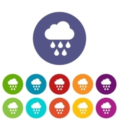 Cloud with rain drops set icons vector