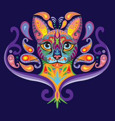 Colorful entangle cat 2 vector
