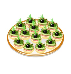 Cucumber sandwiches with sausage and olives on a p vector
