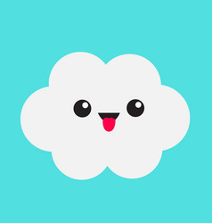 Cute cartoon kawaii white gray cloud showing vector