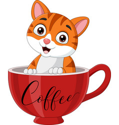 cute cat sitting in a red cup vector image