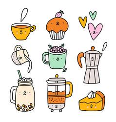cute coffee and tea cartoon characters set vector image